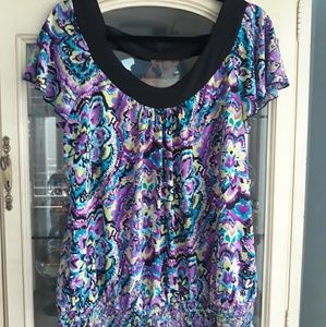 Women's Large Blouse, scoop neck cap sleeves